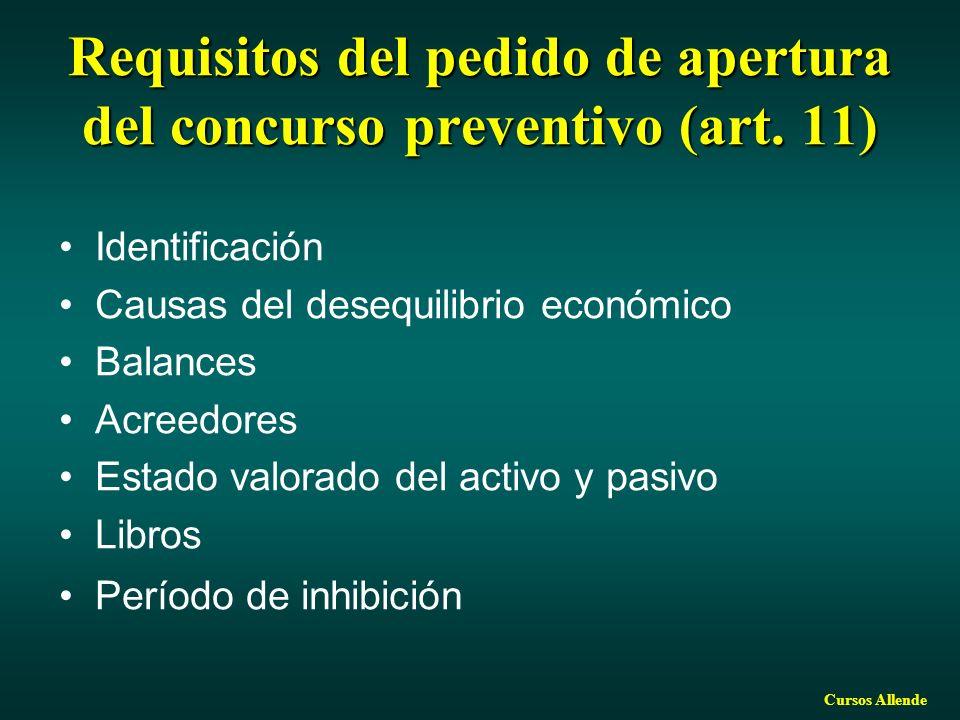 Cursos Allende Requisitos del pedido de apertura del concurso preventivo (art. 11) Identificación Causas del desequilibrio económico Balances Acreedor