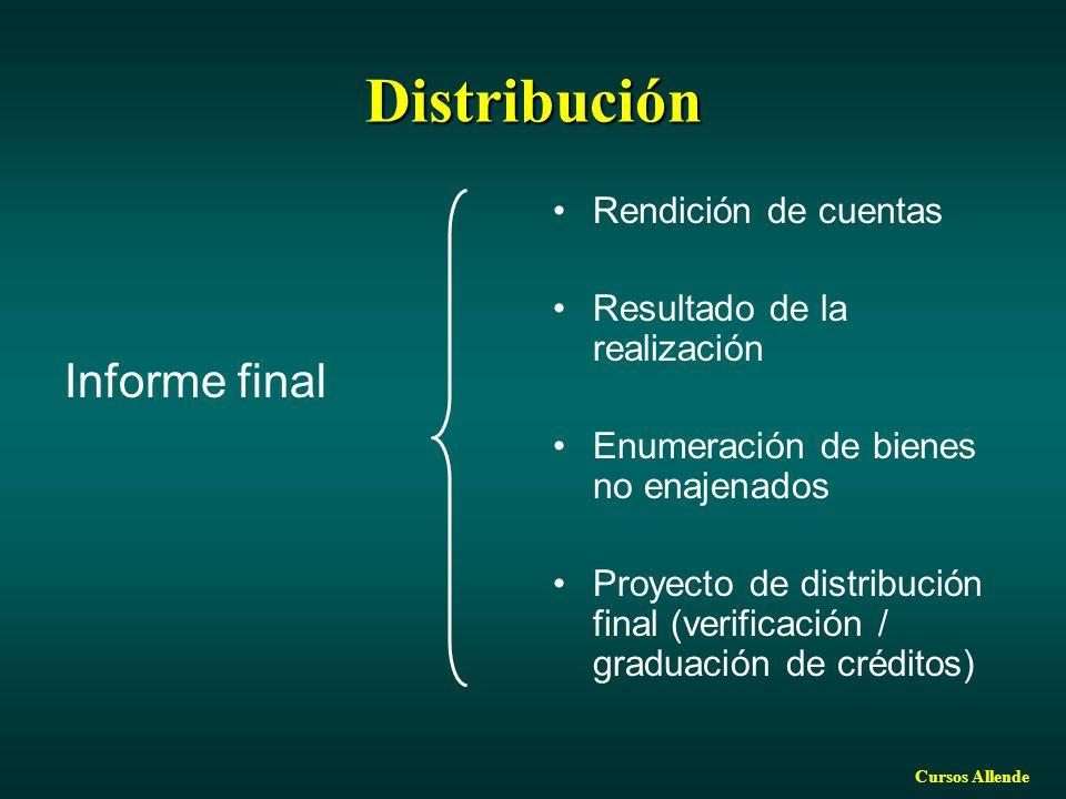 Cursos Allende Distribución Informe final Rendición de cuentas Resultado de la realización Enumeración de bienes no enajenados Proyecto de distribución final (verificación / graduación de créditos)