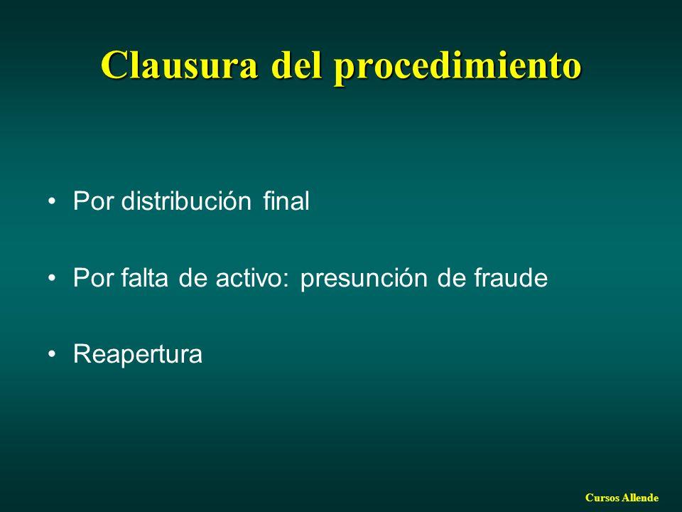 Cursos Allende Clausura del procedimiento Por distribución final Por falta de activo: presunción de fraude Reapertura