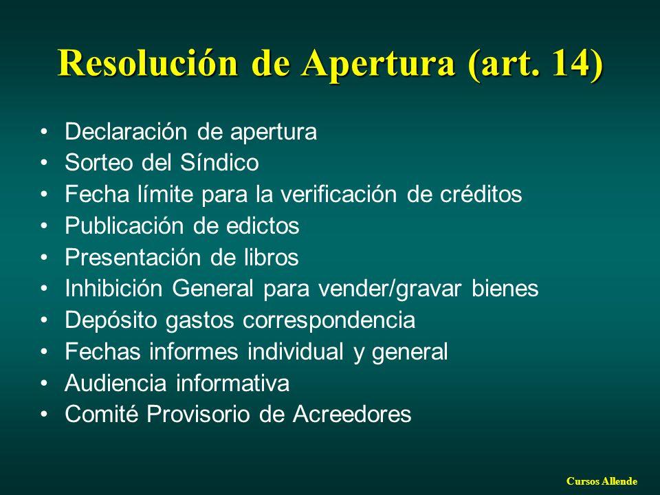 Cursos Allende Resolución de Apertura (art. 14) Declaración de apertura Sorteo del Síndico Fecha límite para la verificación de créditos Publicación d