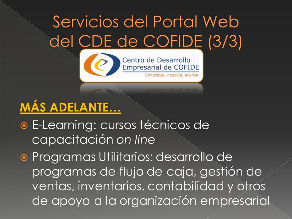 MÁS ADELANTE… E-Learning: cursos técnicos de capacitación on line Programas Utilitarios: desarrollo de programas de flujo de caja, gestión de ventas,