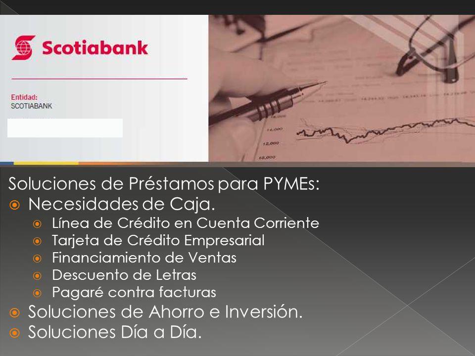 Soluciones de Préstamos para PYMEs: Necesidades de Caja. Línea de Crédito en Cuenta Corriente Tarjeta de Crédito Empresarial Financiamiento de Ventas