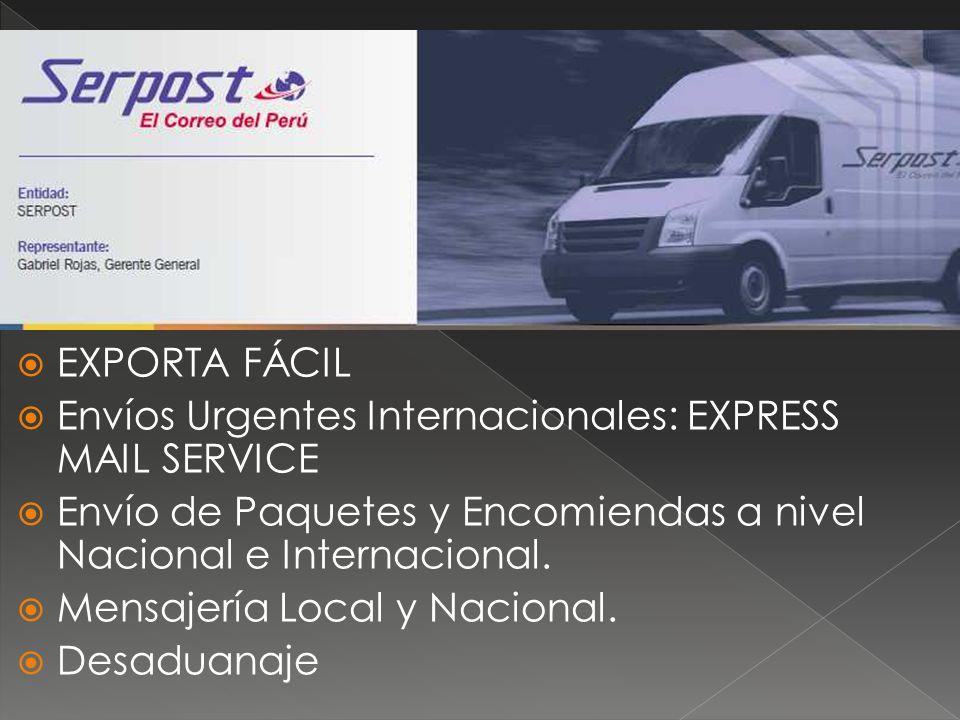 EXPORTA FÁCIL Envíos Urgentes Internacionales: EXPRESS MAIL SERVICE Envío de Paquetes y Encomiendas a nivel Nacional e Internacional. Mensajería Local