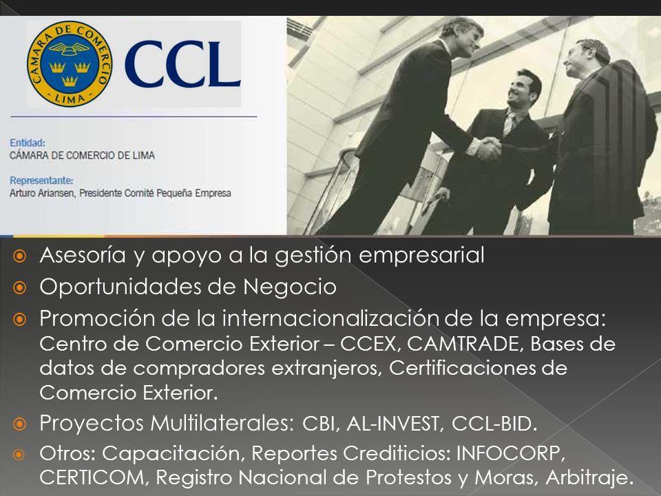 Asesoría y apoyo a la gestión empresarial Oportunidades de Negocio Promoción de la internacionalización de la empresa: Centro de Comercio Exterior – CCEX, CAMTRADE, Bases de datos de compradores extranjeros, Certificaciones de Comercio Exterior.