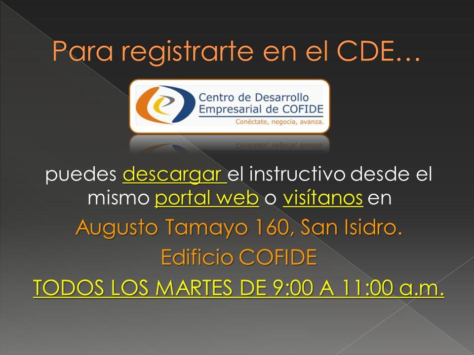 descargar portal web puedes descargar el instructivo desde el mismo portal web o visítanos en Augusto Tamayo 160, San Isidro. Edificio COFIDE TODOS LO