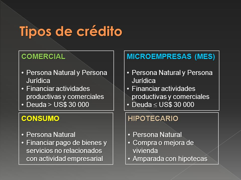 MICROEMPRESAS (MES) Persona Natural y Persona JurídicaPersona Natural y Persona Jurídica Financiar actividades productivas y comercialesFinanciar actividades productivas y comerciales Deuda US$ 30 000Deuda US$ 30 000 Art.