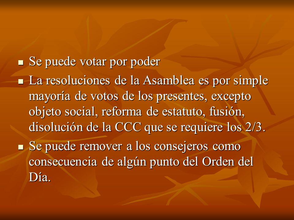 Se puede votar por poder Se puede votar por poder La resoluciones de la Asamblea es por simple mayoría de votos de los presentes, excepto objeto social, reforma de estatuto, fusión, disolución de la CCC que se requiere los 2/3.