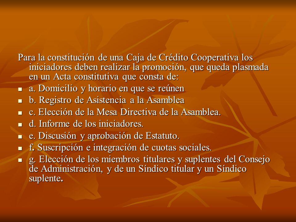 Para la constitución de una Caja de Crédito Cooperativa los iniciadores deben realizar la promoción, que queda plasmada en un Acta constitutiva que consta de: a.