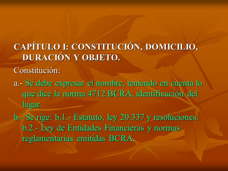 CAPÍTULO I: CONSTITUCIÓN, DOMICILIO, DURACIÓN Y OBJETO.