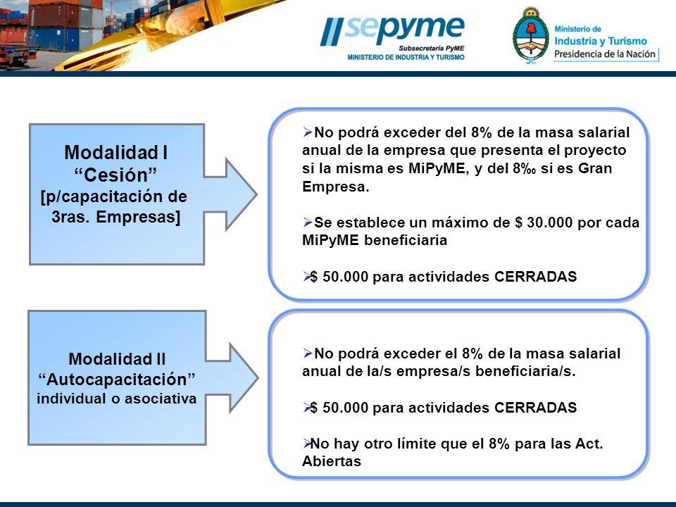 No podrá exceder del 8% de la masa salarial anual de la empresa que presenta el proyecto si la misma es MiPyME, y del 8 si es Gran Empresa. Se estable
