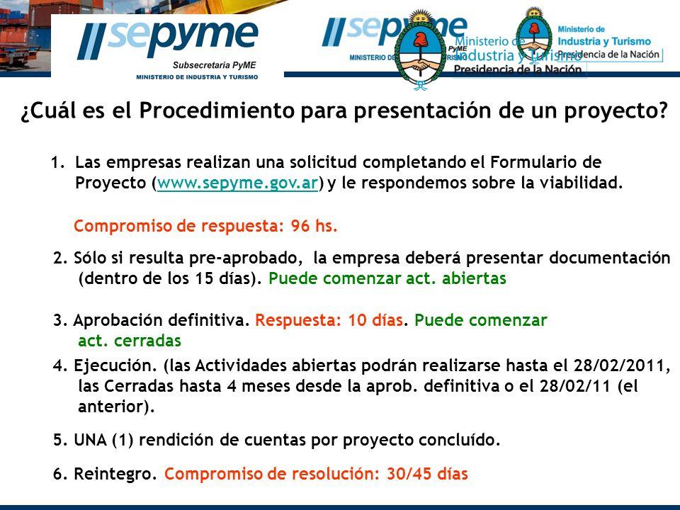 ¿Cuál es el Procedimiento para presentación de un proyecto? 1.Las empresas realizan una solicitud completando el Formulario de Proyecto (www.sepyme.go