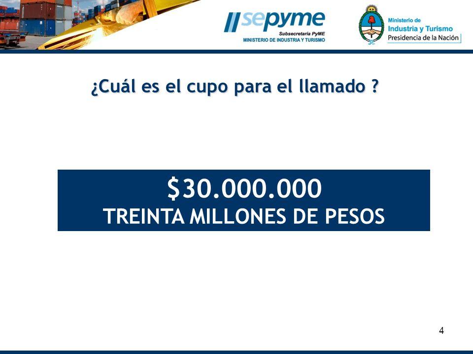 4 ¿Cuál es el cupo para el llamado ? $30.000.000 TREINTA MILLONES DE PESOS
