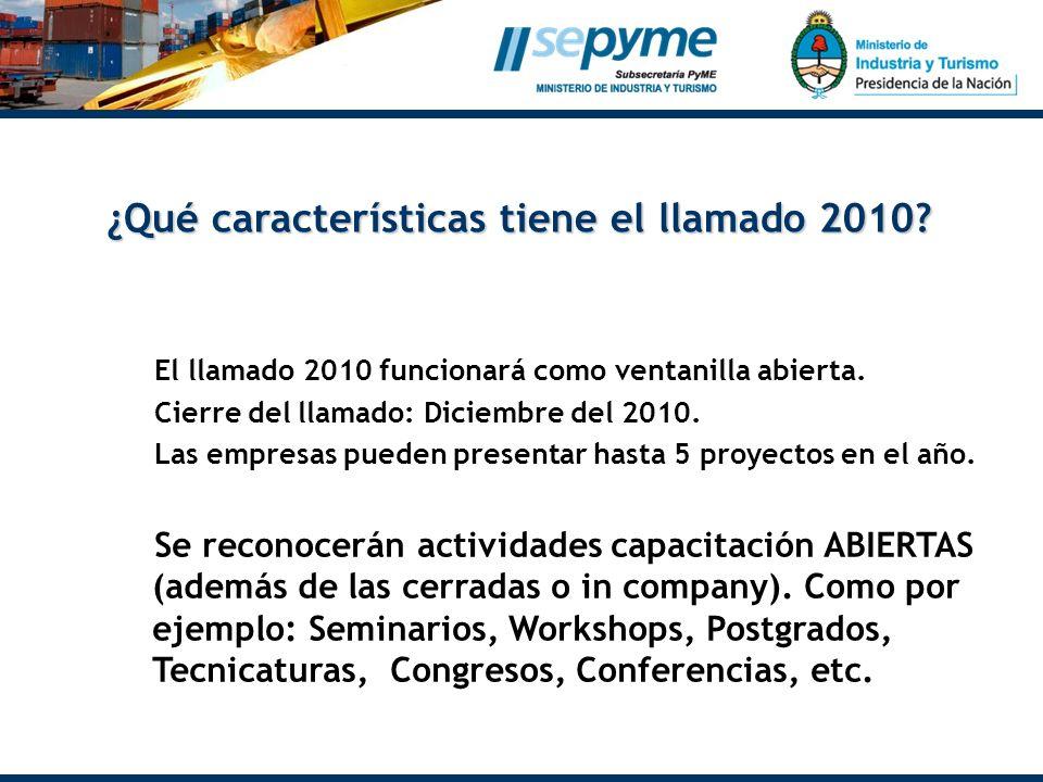 Distribución sectorial y geográfica de los proyectos asistidos ¿Qué características tiene el llamado 2010? El llamado 2010 funcionará como ventanilla