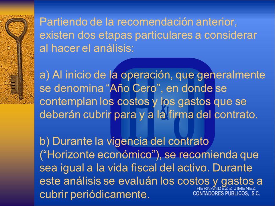 Partiendo de la recomendación anterior, existen dos etapas particulares a considerar al hacer el análisis: a) Al inicio de la operación, que generalmente se denomina Año Cero, en donde se contemplan los costos y los gastos que se deberán cubrir para y a la firma del contrato.