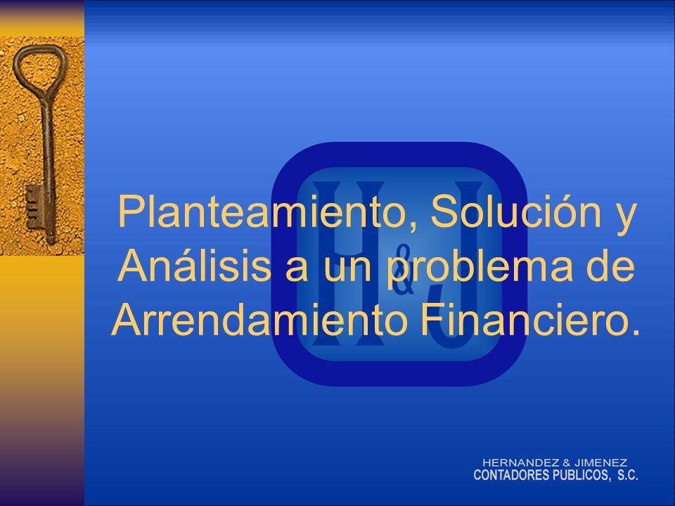 Planteamiento, Solución y Análisis a un problema de Arrendamiento Financiero.