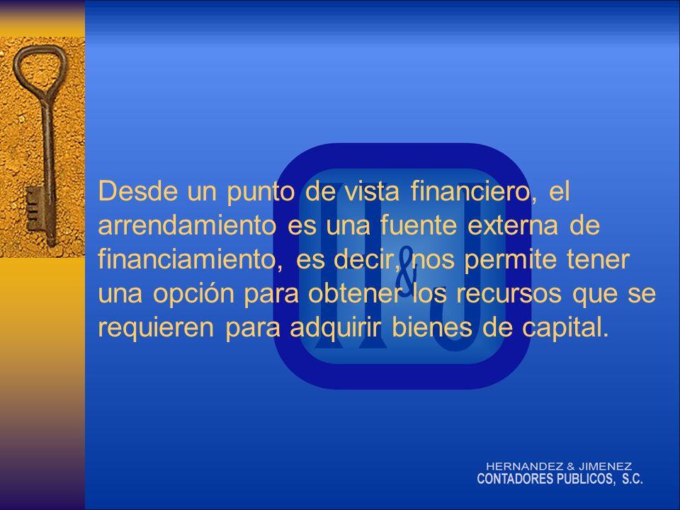 Desde un punto de vista financiero, el arrendamiento es una fuente externa de financiamiento, es decir, nos permite tener una opción para obtener los recursos que se requieren para adquirir bienes de capital.