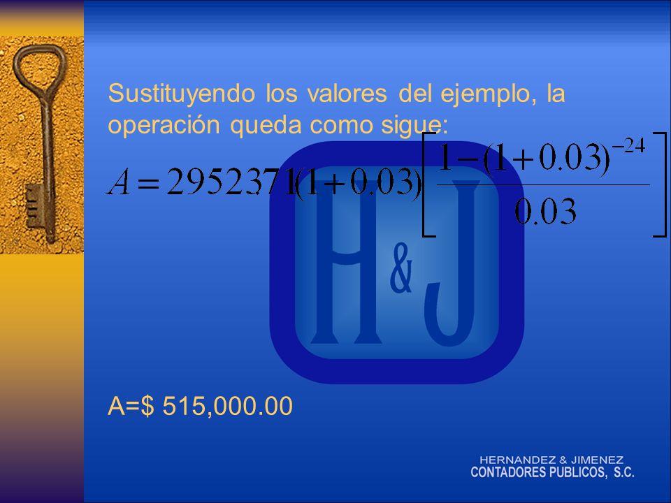 Sustituyendo los valores del ejemplo, la operación queda como sigue: A=$ 515,000.00