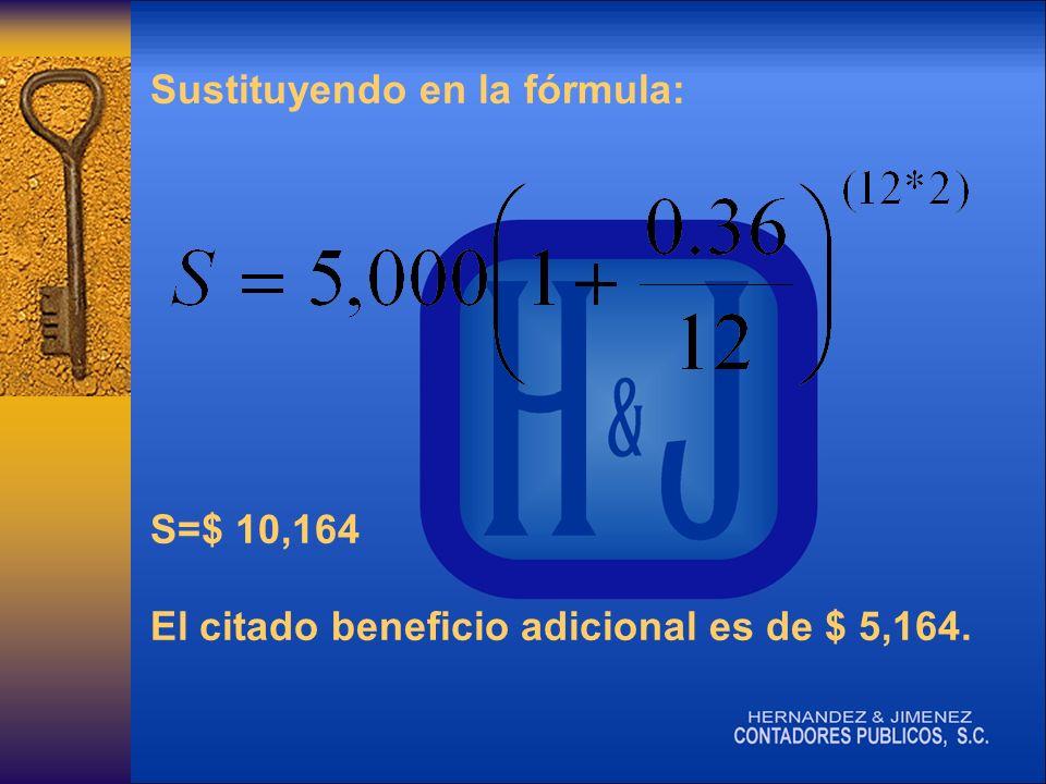 Sustituyendo en la fórmula: S=$ 10,164 El citado beneficio adicional es de $ 5,164.