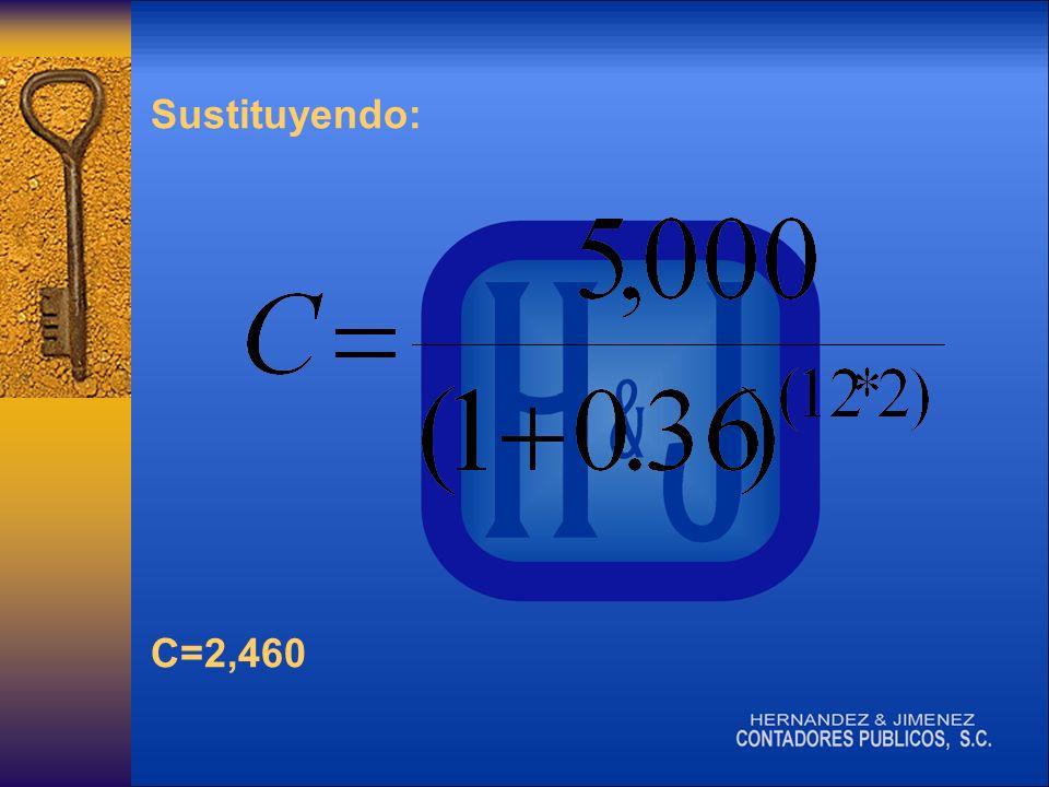 Sustituyendo: C=2,460