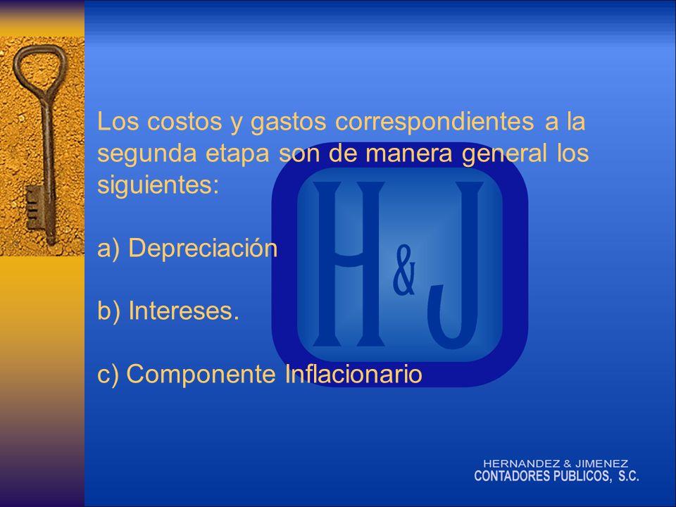 Los costos y gastos correspondientes a la segunda etapa son de manera general los siguientes: a) Depreciación b) Intereses.