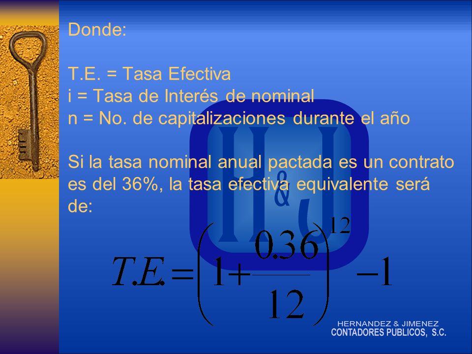 Donde: T.E.= Tasa Efectiva i = Tasa de Interés de nominal n = No.
