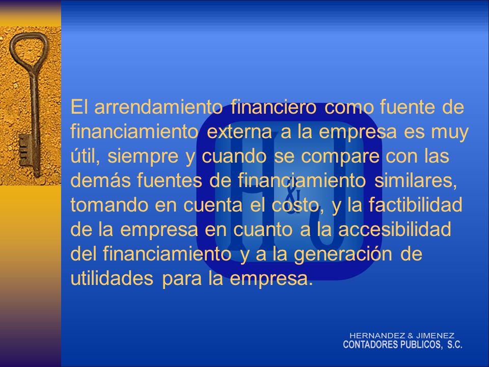 El arrendamiento financiero como fuente de financiamiento externa a la empresa es muy útil, siempre y cuando se compare con las demás fuentes de financiamiento similares, tomando en cuenta el costo, y la factibilidad de la empresa en cuanto a la accesibilidad del financiamiento y a la generación de utilidades para la empresa.