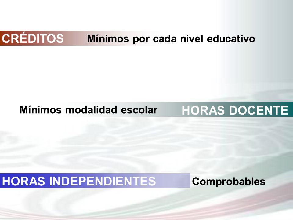 CRÉDITOS Mínimos por cada nivel educativo HORAS DOCENTE Mínimos modalidad escolar HORAS INDEPENDIENTES Comprobables