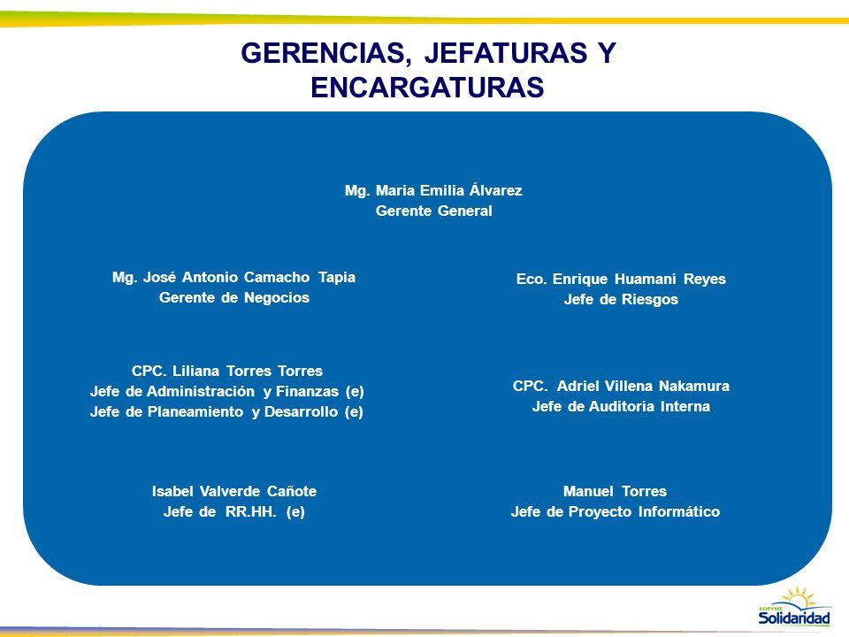 GERENCIAS, JEFATURAS Y ENCARGATURAS Mg. Maria Emilia Álvarez Gerente General Mg. José Antonio Camacho Tapia Gerente de Negocios Eco. Enrique Huamaní R