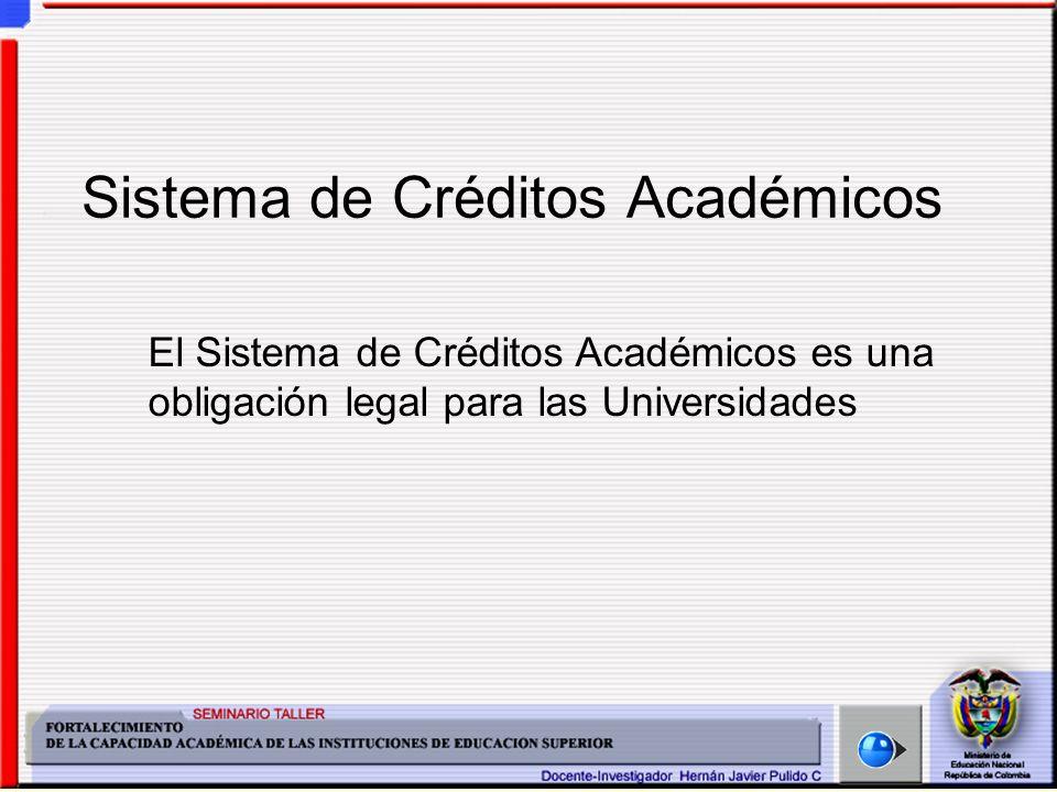 Sistema de Créditos Académicos El Sistema de Créditos Académicos es una obligación legal para las Universidades