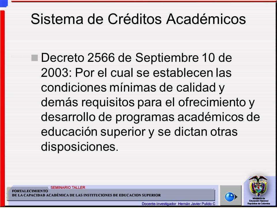 Sistema de Créditos Académicos Decreto 2566 de Septiembre 10 de 2003: Por el cual se establecen las condiciones mínimas de calidad y demás requisitos para el ofrecimiento y desarrollo de programas académicos de educación superior y se dictan otras disposiciones.