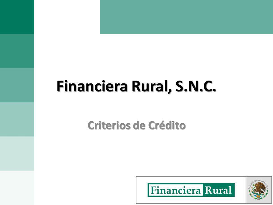 Financiera Rural, S.N.C. Criterios de Crédito