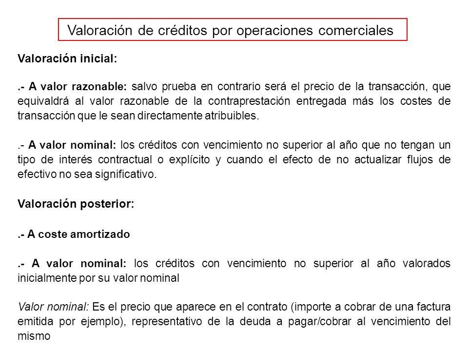 El valor actual del efectivo a recibir es menor que su valor futuro (nominal) (*) El criterio de valoración a emplear (nominal-nominal o valor razonable-coste amortizado) dependerá de si el resultado de actualizar el valor de los flujos de efectivo esperados (reflejados en los nominales) no es importante.