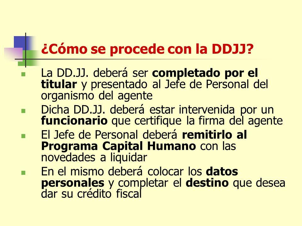 ¿Cómo se procede con la DDJJ.La DD.JJ.