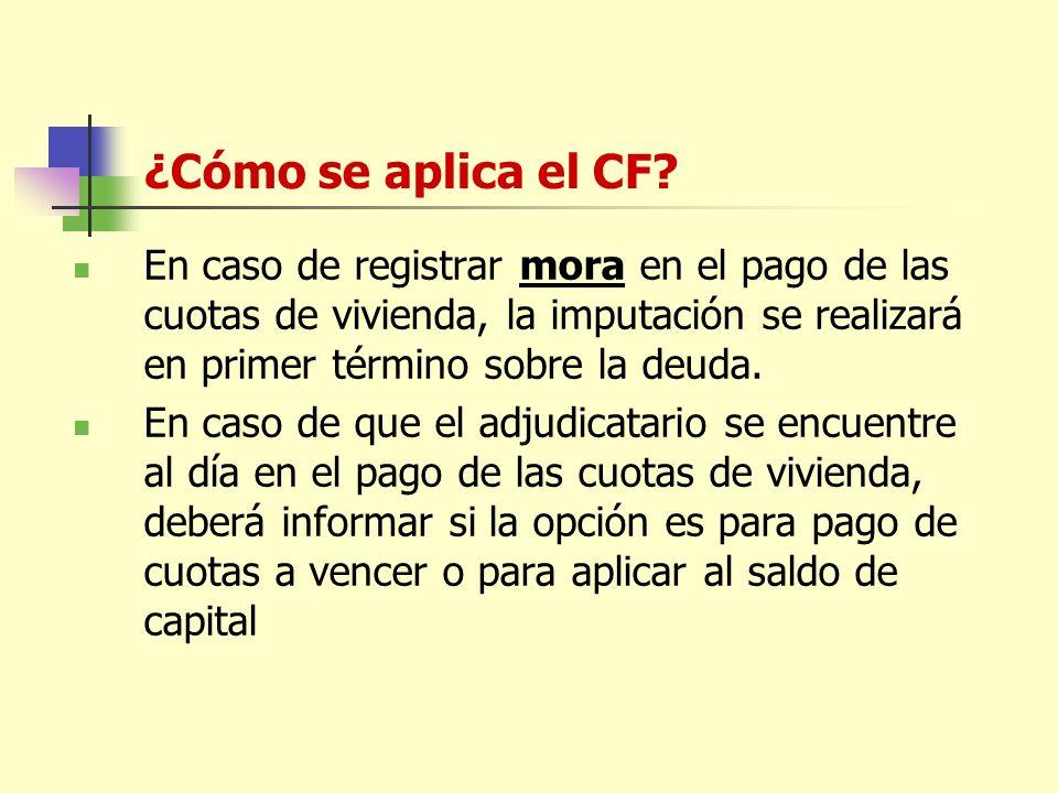 ¿Cómo se aplica el CF.