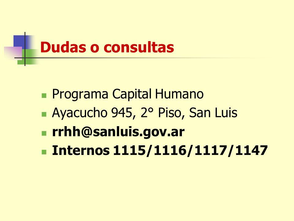 Dudas o consultas Programa Capital Humano Ayacucho 945, 2° Piso, San Luis rrhh@sanluis.gov.ar Internos 1115/1116/1117/1147