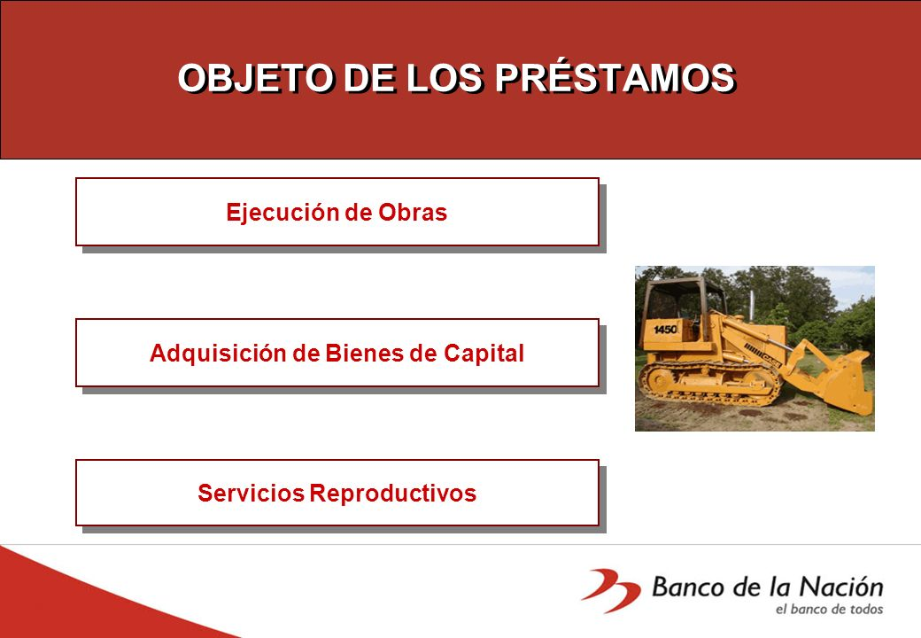 OBJETO DE LOS PRÉSTAMOS Ejecución de Obras Adquisición de Bienes de Capital Servicios Reproductivos