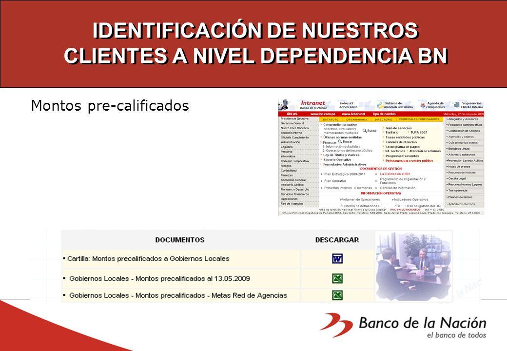 IDENTIFICACIÓN DE NUESTROS CLIENTES A NIVEL DEPENDENCIA BN Montos pre-calificados
