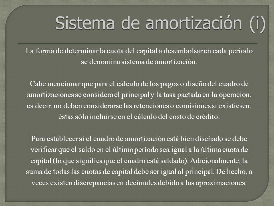 La forma de determinar la cuota del capital a desembolsar en cada período se denomina sistema de amortización.