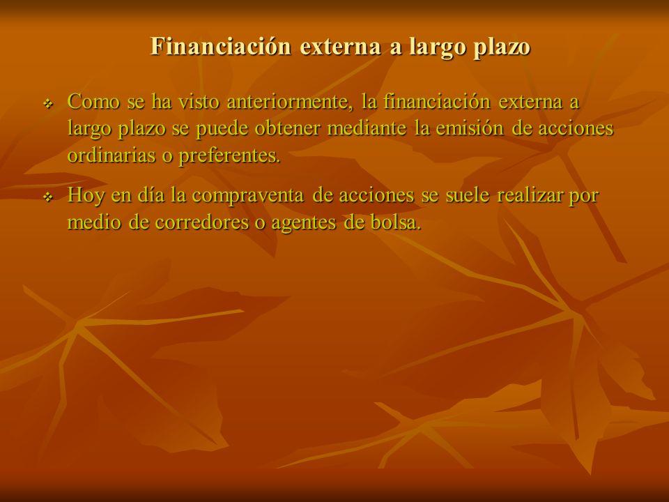 Financiación externa a largo plazo Como se ha visto anteriormente, la financiación externa a largo plazo se puede obtener mediante la emisión de accio