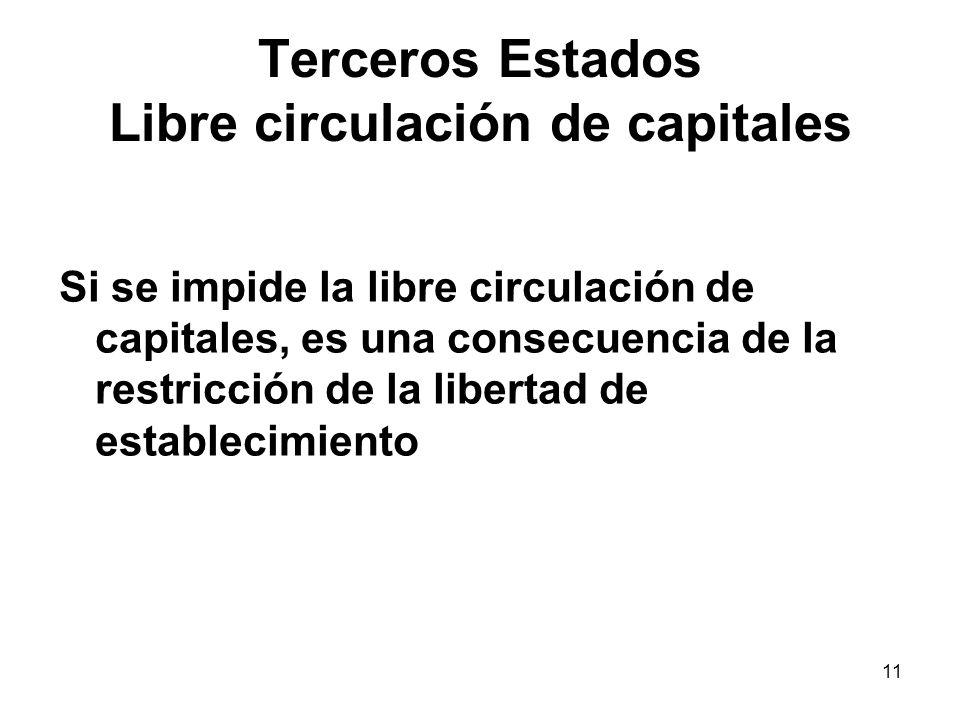11 Terceros Estados Libre circulación de capitales Si se impide la libre circulación de capitales, es una consecuencia de la restricción de la liberta