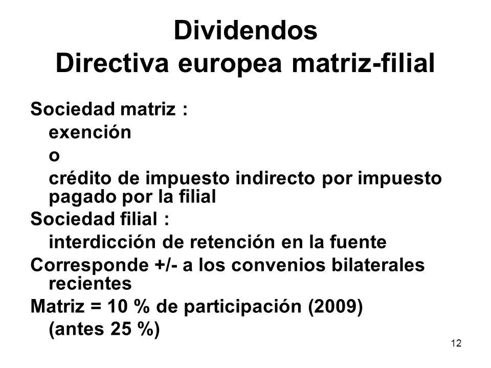 12 Dividendos Directiva europea matriz-filial Sociedad matriz : exención o crédito de impuesto indirecto por impuesto pagado por la filial Sociedad fi