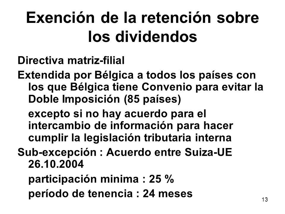 13 Exención de la retención sobre los dividendos Directiva matriz-filial Extendida por Bélgica a todos los países con los que Bélgica tiene Convenio p