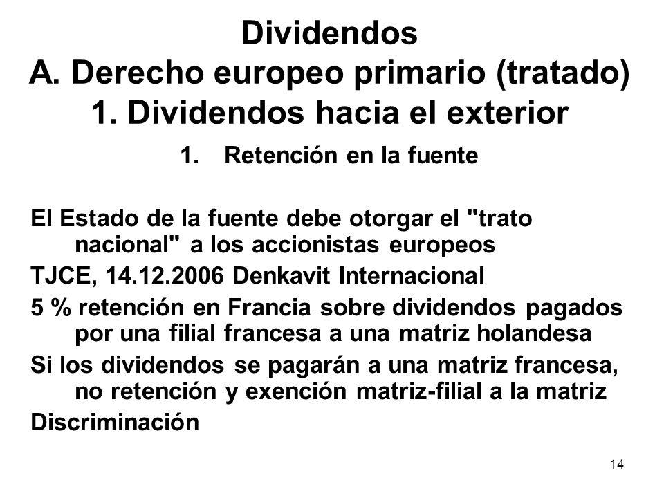 14 Dividendos A. Derecho europeo primario (tratado) 1. Dividendos hacia el exterior 1.Retención en la fuente El Estado de la fuente debe otorgar el