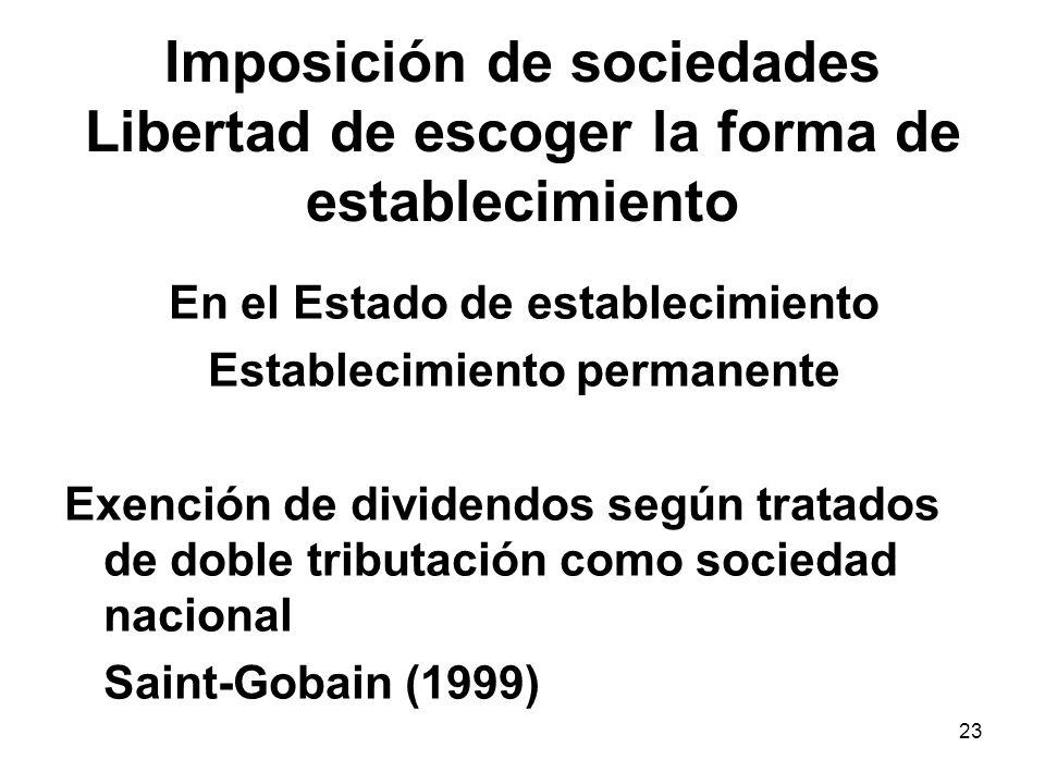 23 Imposición de sociedades Libertad de escoger la forma de establecimiento En el Estado de establecimiento Establecimiento permanente Exención de div