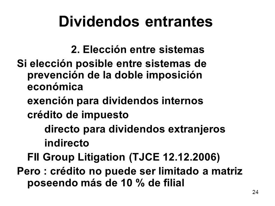 24 Dividendos entrantes 2. Elección entre sistemas Si elección posible entre sistemas de prevención de la doble imposición económica exención para div