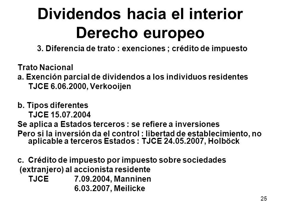 25 Dividendos hacia el interior Derecho europeo 3. Diferencia de trato : exenciones ; crédito de impuesto Trato Nacional a. Exención parcial de divide