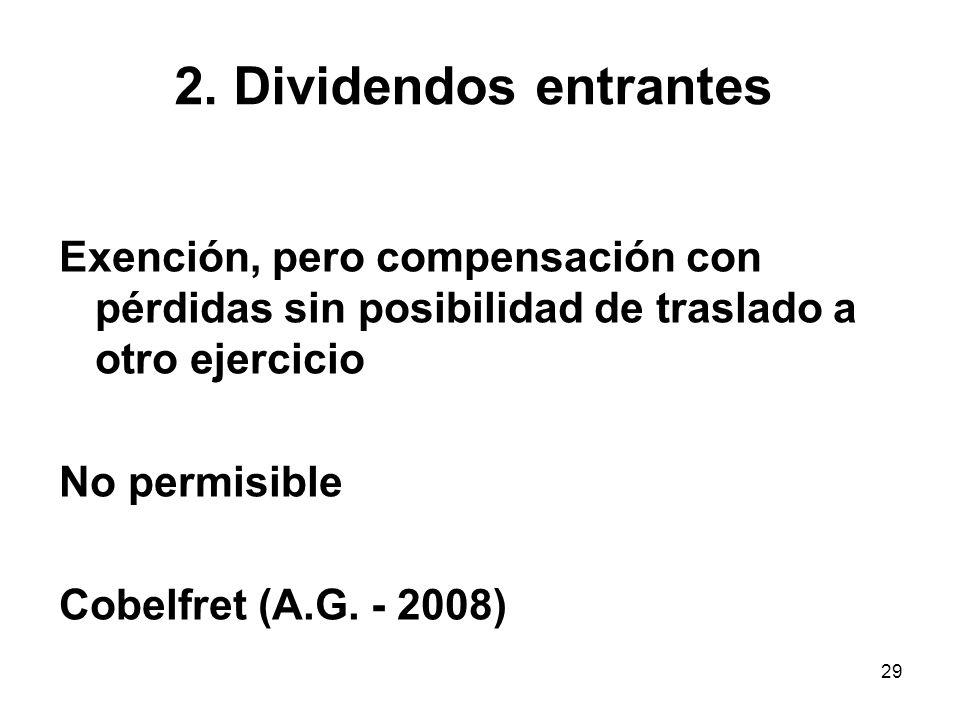 29 2. Dividendos entrantes Exención, pero compensación con pérdidas sin posibilidad de traslado a otro ejercicio No permisible Cobelfret (A.G. - 2008)