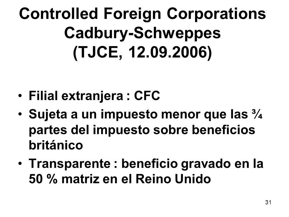 31 Controlled Foreign Corporations Cadbury-Schweppes (TJCE, 12.09.2006) Filial extranjera : CFC Sujeta a un impuesto menor que las ¾ partes del impues