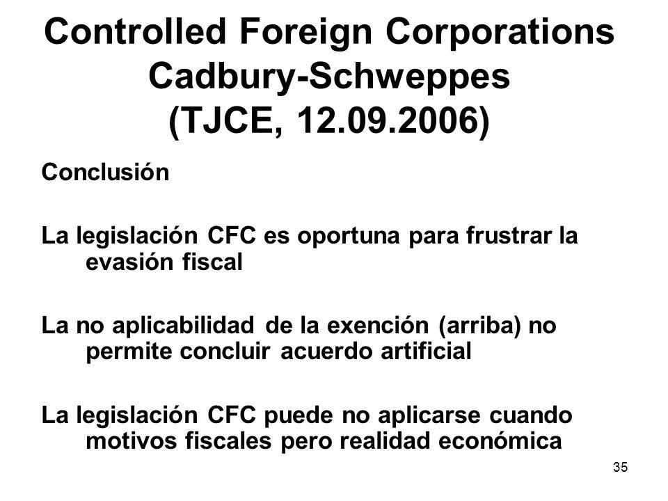 35 Controlled Foreign Corporations Cadbury-Schweppes (TJCE, 12.09.2006) Conclusión La legislación CFC es oportuna para frustrar la evasión fiscal La n