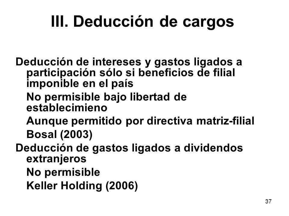 37 III. Deducción de cargos Deducción de intereses y gastos ligados a participación sólo si beneficios de filial imponible en el país No permisible ba
